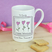 3 Hearts Message Personalised Slim Mug