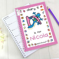 Bang On The Door Animal Alphabet Girls Personalised A5 Diary