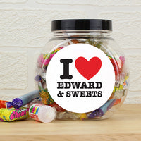 I HEART Personalised Sweet Jar