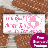 Pink Best in the World Personalised Milk Chocolate Bar