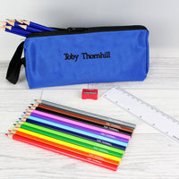 Blue Personalised Pencil Case Set