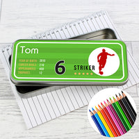 Team Player Personalised Pencil Tin with Colouring Pencils