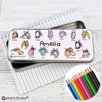 Bang on the Door Pony Personalised Pencil Tin with Colouring Pencils