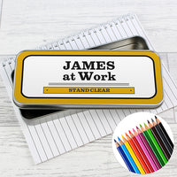 Man at Work Personalised Pencil Tin with Colouring Pencils