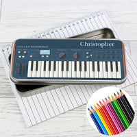 Keyboard Personalised Pencil Tin with Colouring Pencils