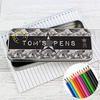 Army Camo Pencil Tin with Colouring Pencils