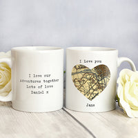1896 - 1904 Revised New Map Heart Personalised Mug