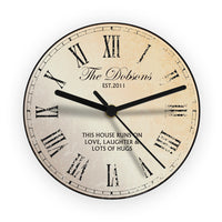 Rustic Message Personalised Glass Clock