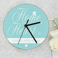 Home Is Where... Personalised Glass Clock