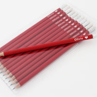 Heart Motif Personalised Red Pencils