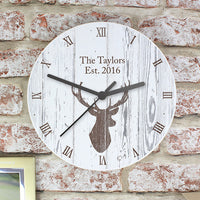 Highland Stag Shabby Chic Personalised Wooden Clock