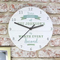 Time Spent Shabby Chic Large Personalised Wooden Clock