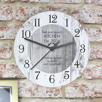 Shabby Chic Personalised Any Message Large Wooden Clock