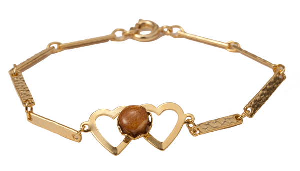Gold Double Heart Bracelet with Wood Cabochon
