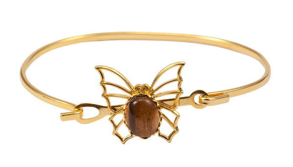 Gold Butterfly Bracelet with Wood Pendant
