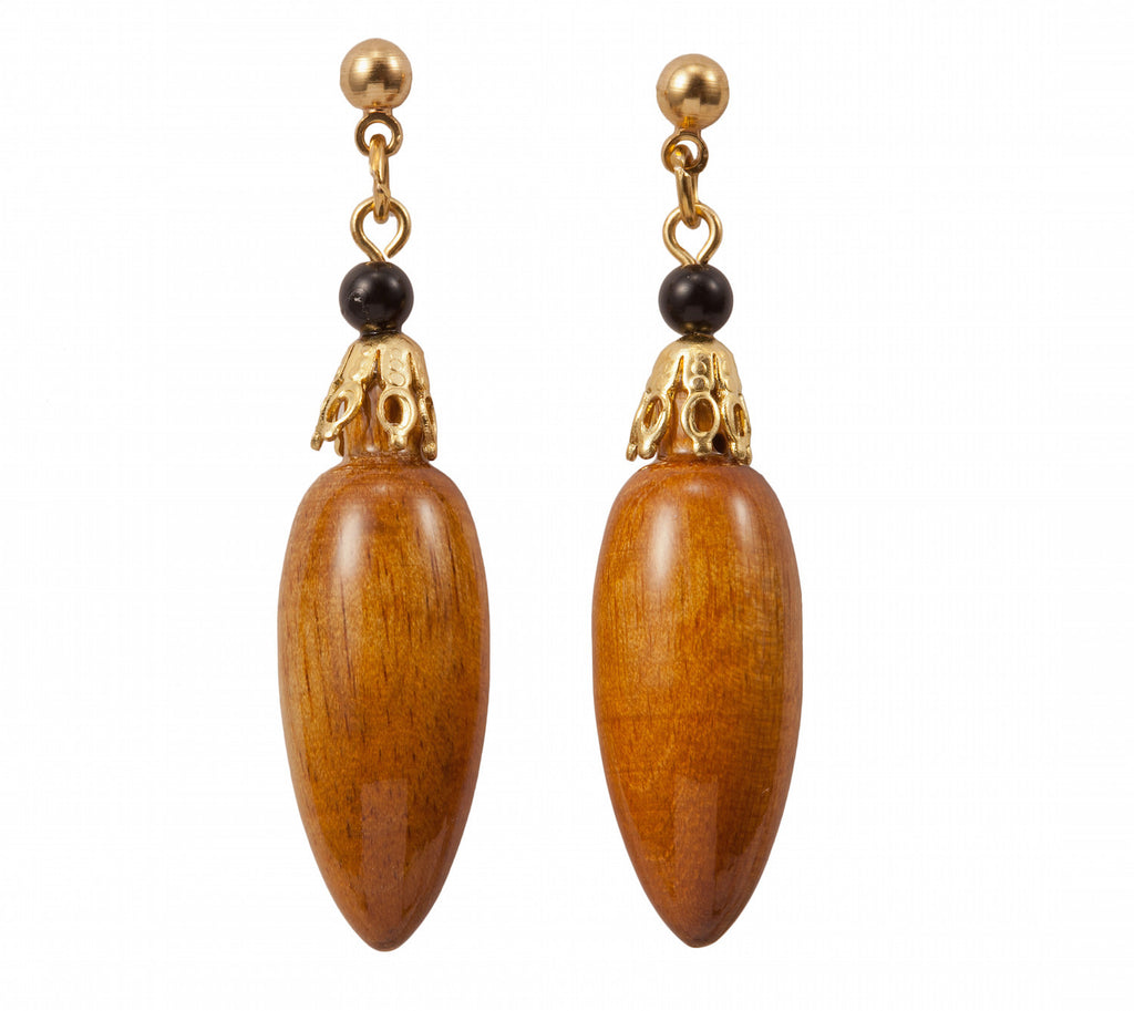 Dangle Earring With Oblong Wood Bead