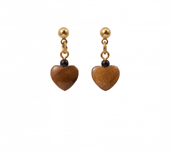 Heart Dangle Wood Earrings Laser Cut