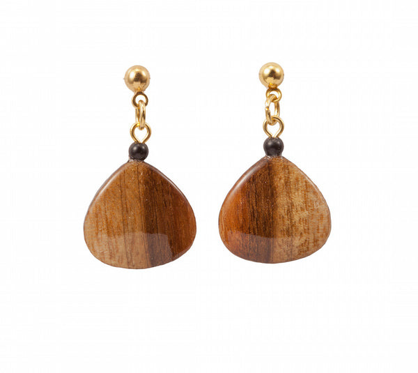 Gold or Silver Dangle or Stud Wood Earrings