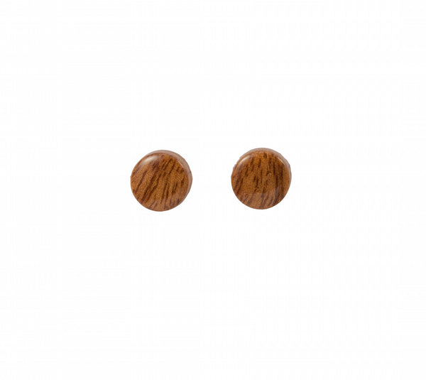 Round Button Stud Style Wood Earring
