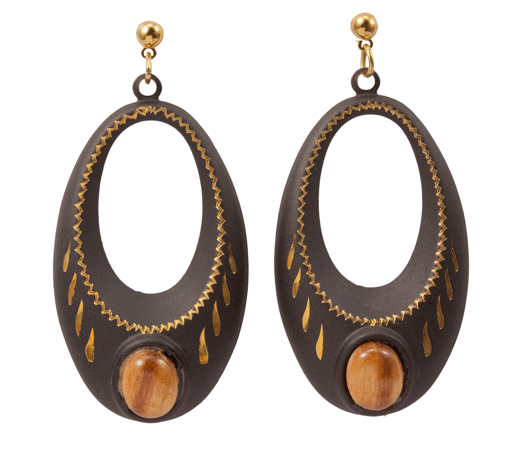 Oval Jewel Wood Cabochon Dangle Earring