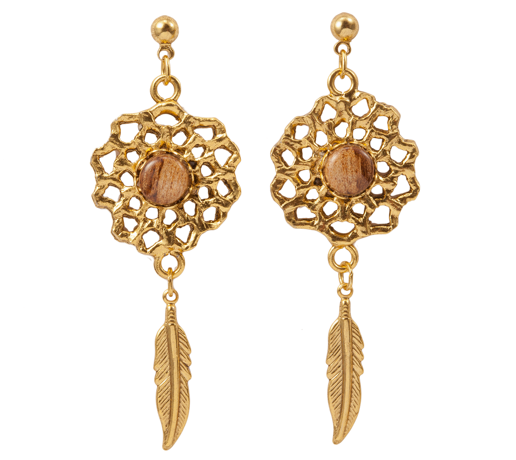 Gold Dangle Earring with Feather & Wood Accent