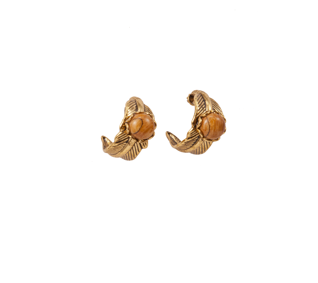 Gold Feather Post Earring