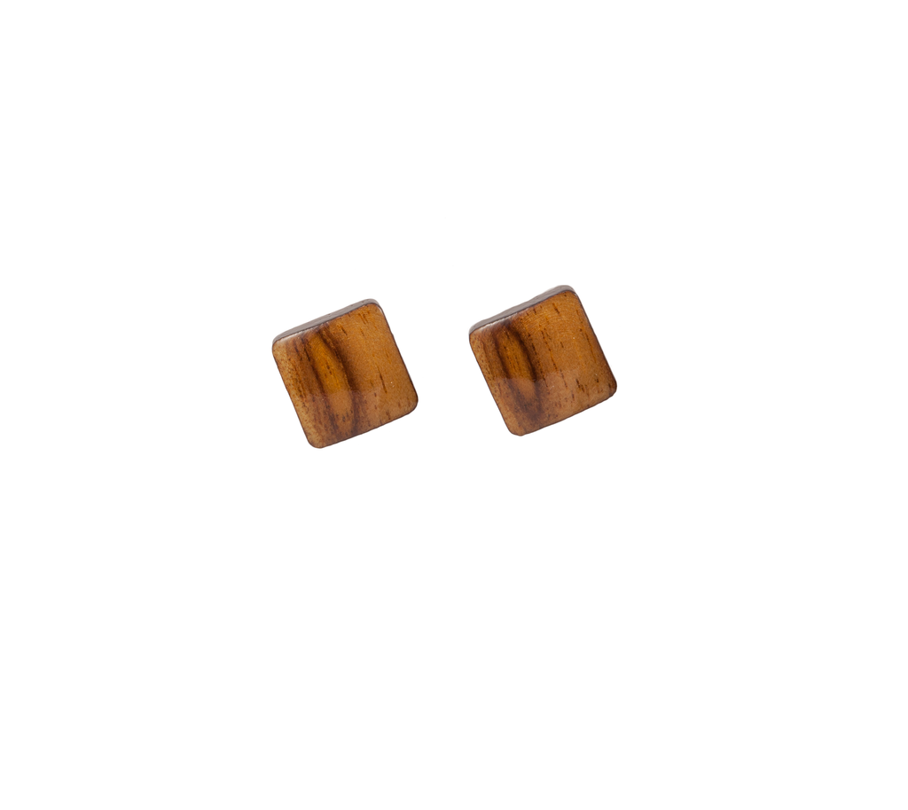 Diamond Button-Style Wood Earring