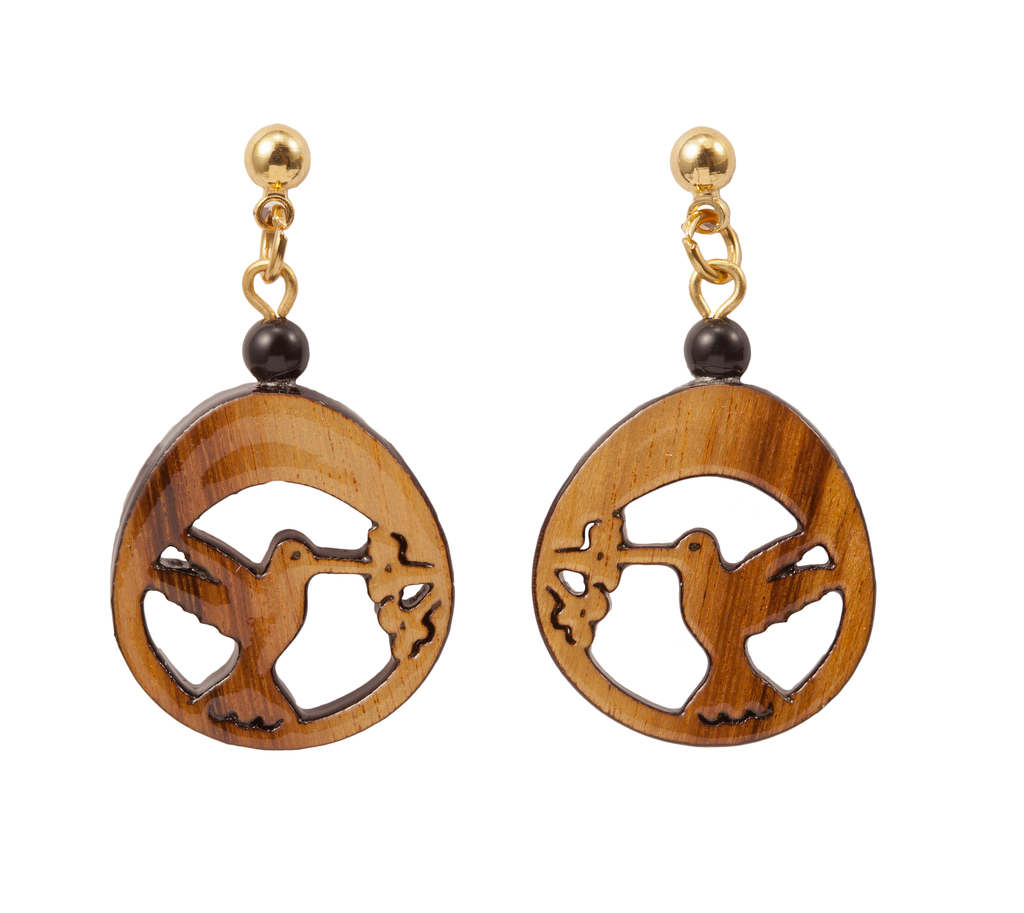 Laser Cut Hummingbird Dangle Earring