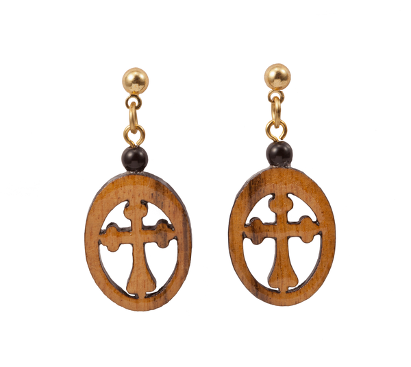 Laser Cut Wooden Cross Dangle Earring