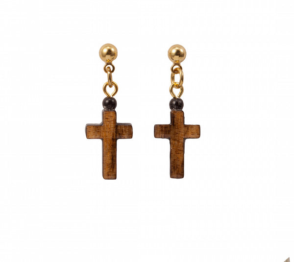 Laser Cut Wood Cross Earring