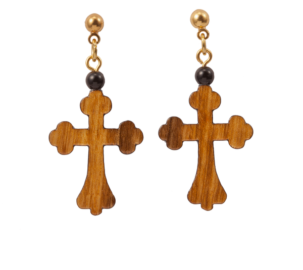 Large Wood Cross Dangle Earring