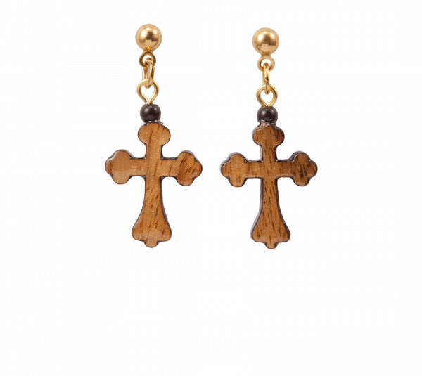 Laser Cut Celtic Wood Cross Earring