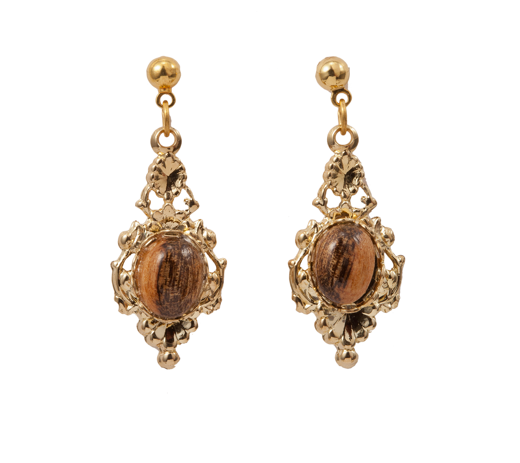Wood Accent Filigree Gold Earring
