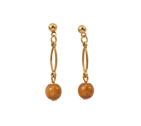 Dangle Earring with Wood Bead
