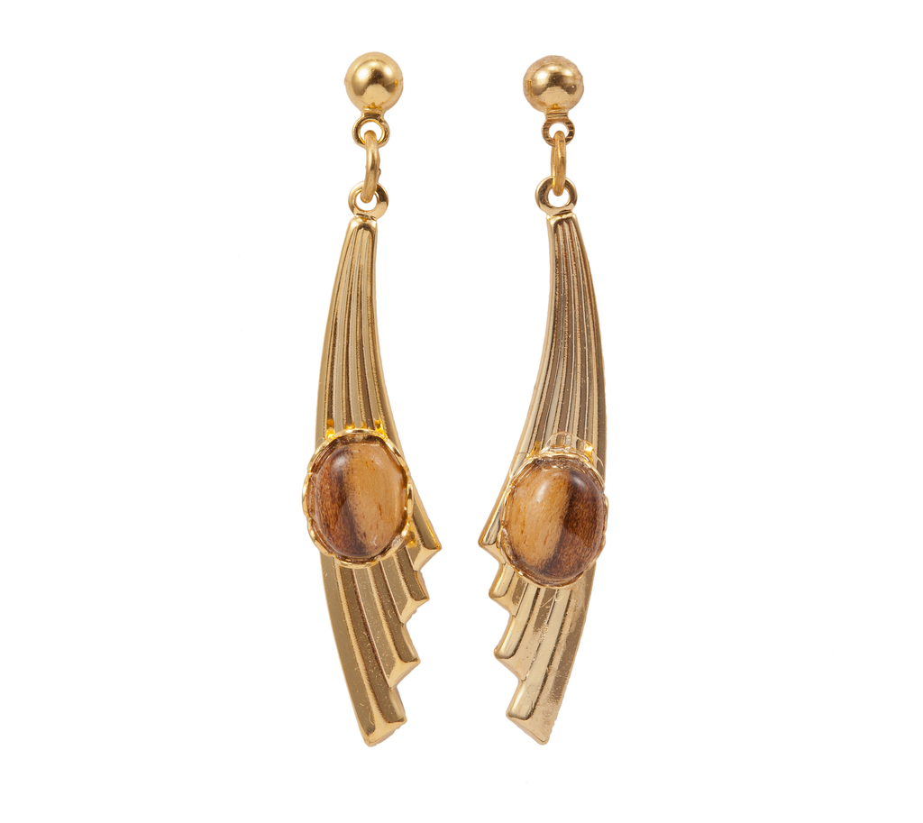 Gold Fin with Wood Accent Dangle Earring
