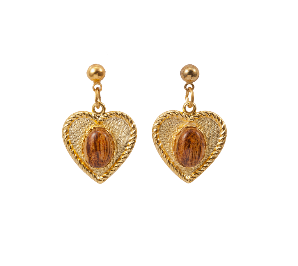 Gold Heart Dangle Earring with Wood Cabochon