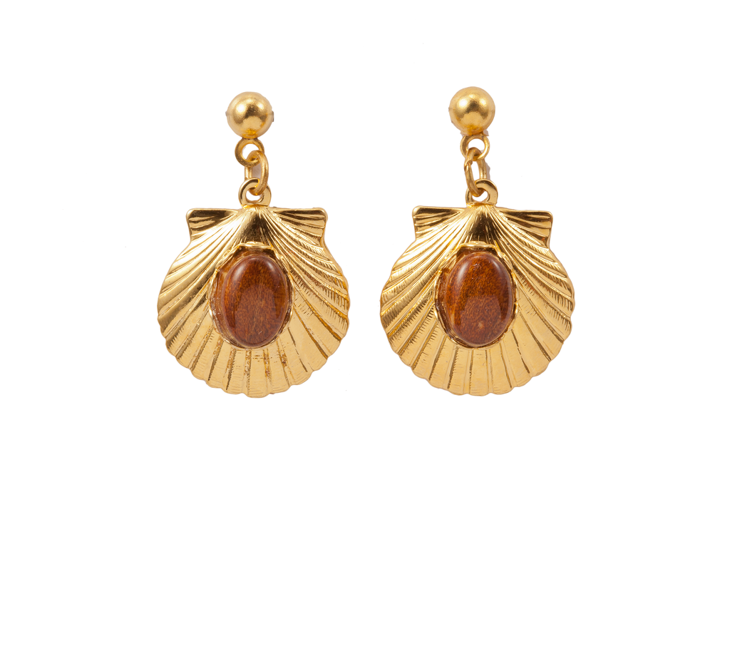 Scallop Shell Dangle Earring with Wood Accent
