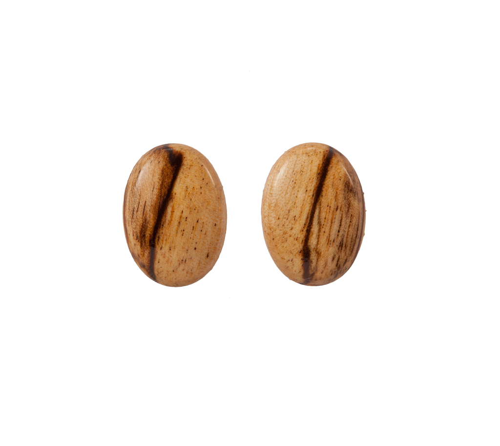 Oval Wood Post Earring