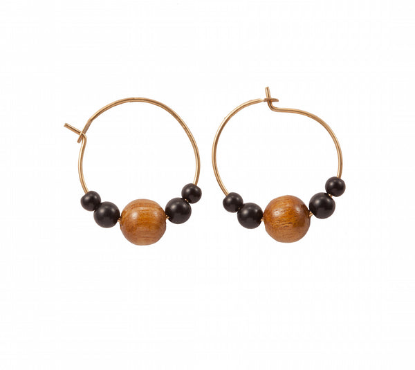 Gold or Silver Hoop Earring With Wooden Bead