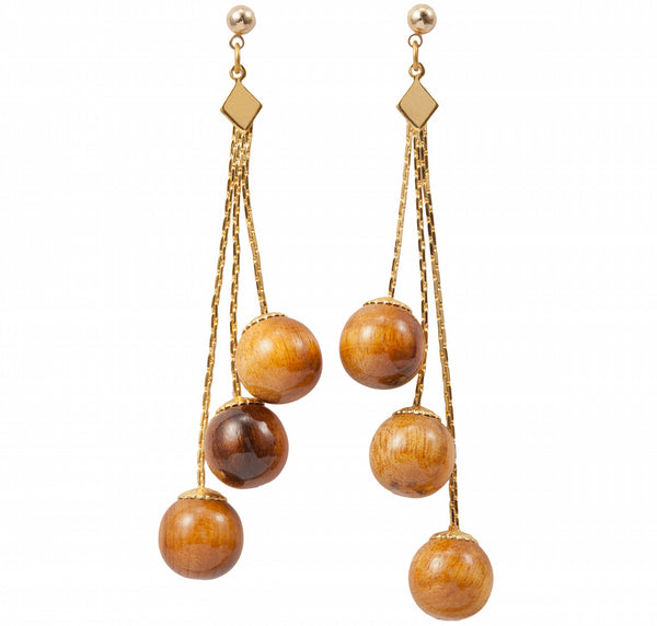 Triple Wood Bead Dangle Earring