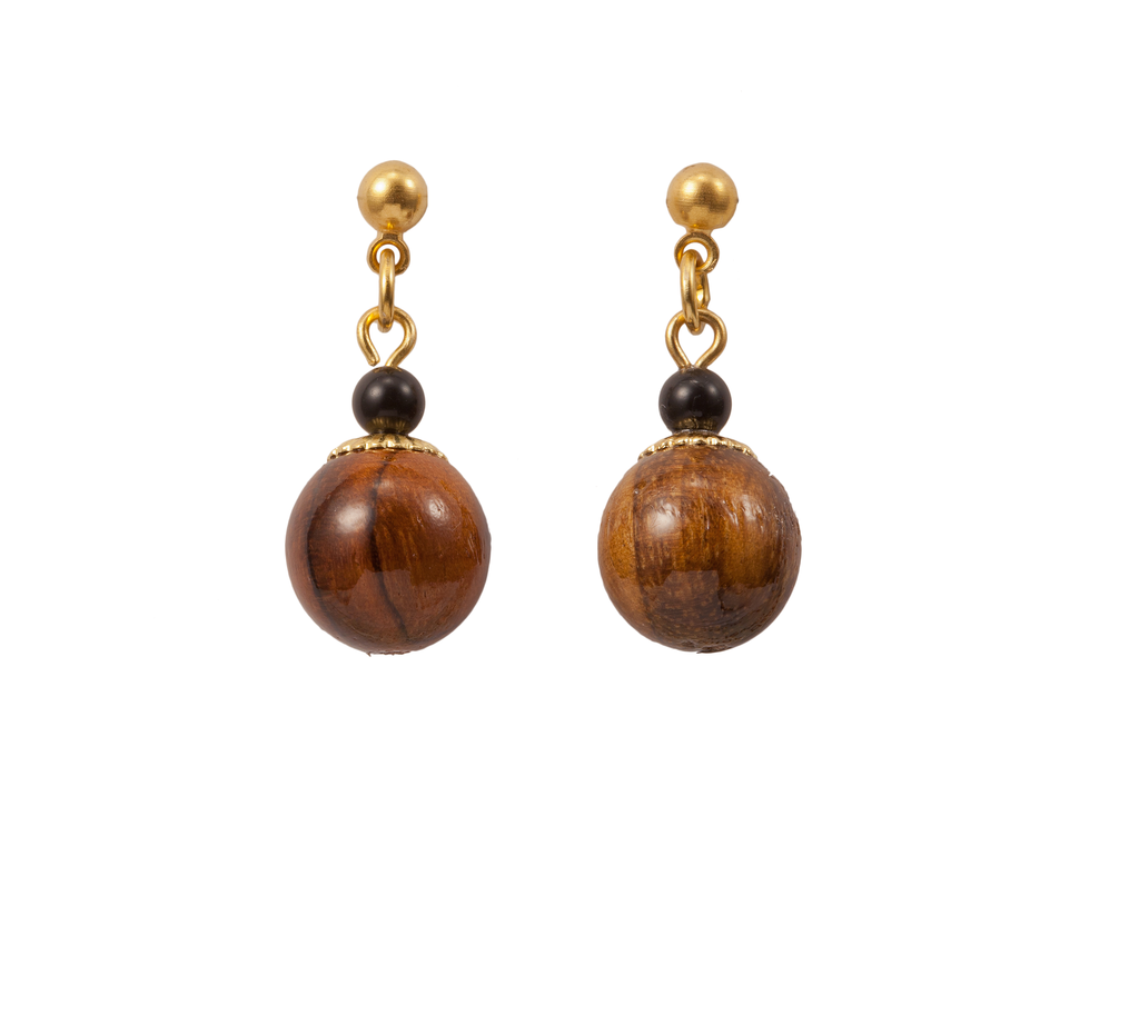 Large Wood Bead Dangle Earring