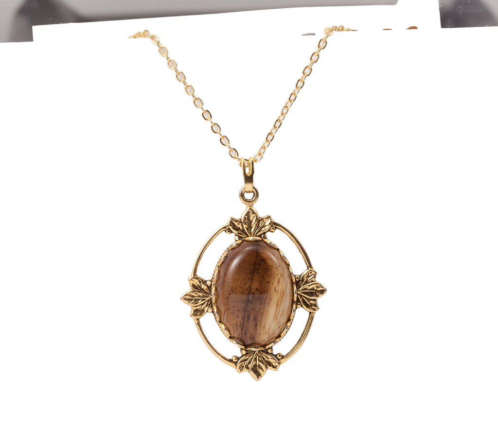 Wood Cabochon with Gold Leaves Necklace