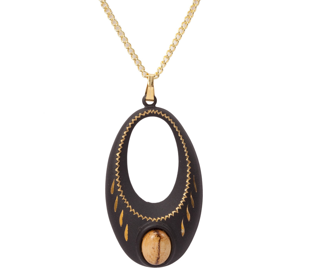 Large Black Pendant With Gold Highlights