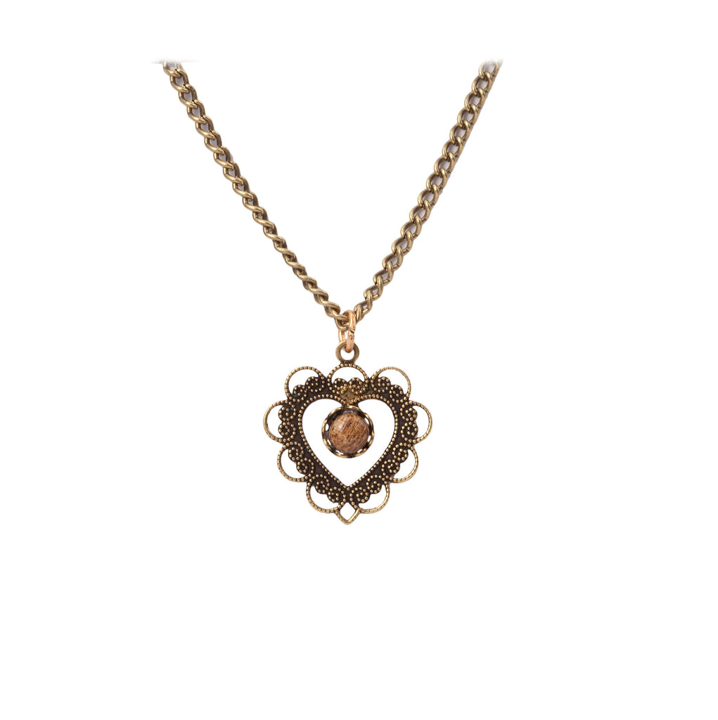 Gold Heart Necklace With Wood Bead