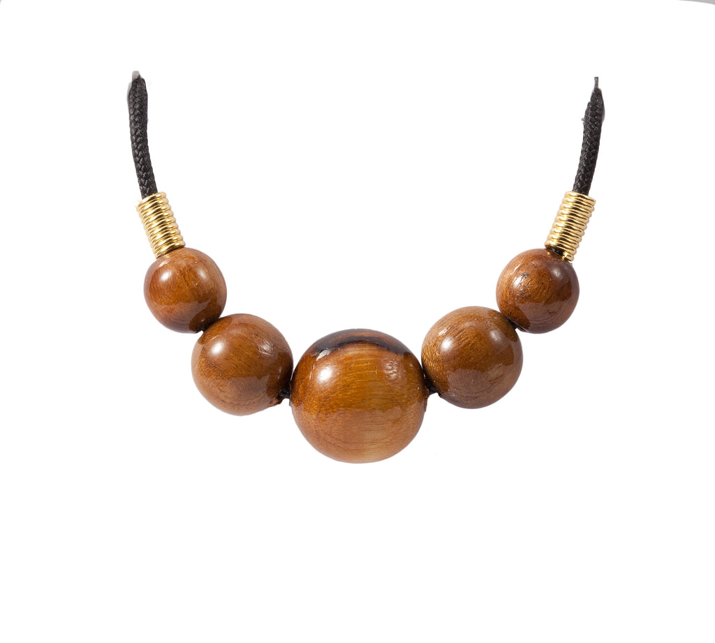 Five Wood Beads Necklace