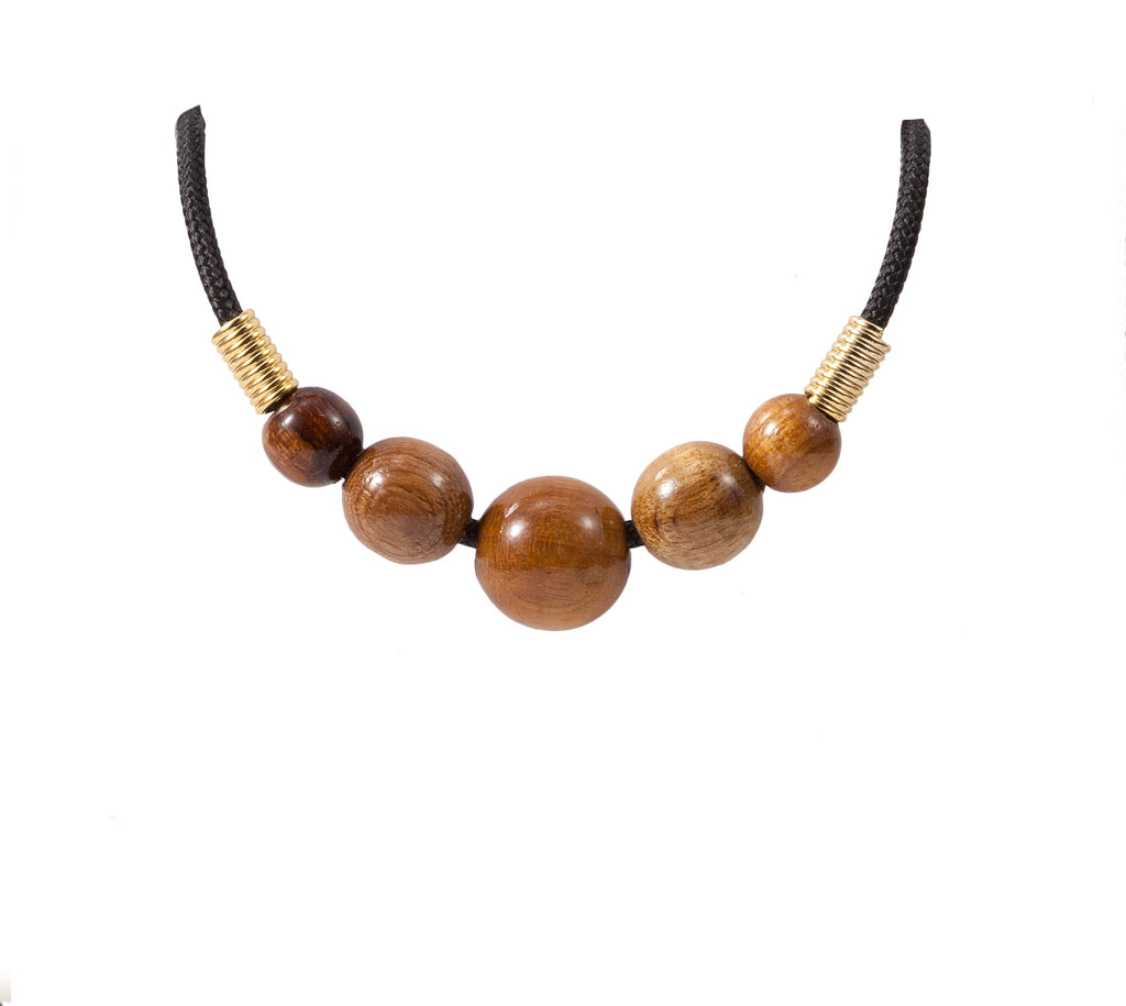 Five Beads & Gold Coil Choker