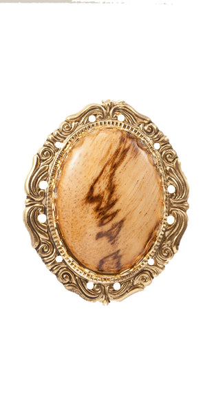 Brooch with Wood Accent