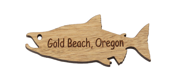 Gold Beach Salmon Keychain or Magnet