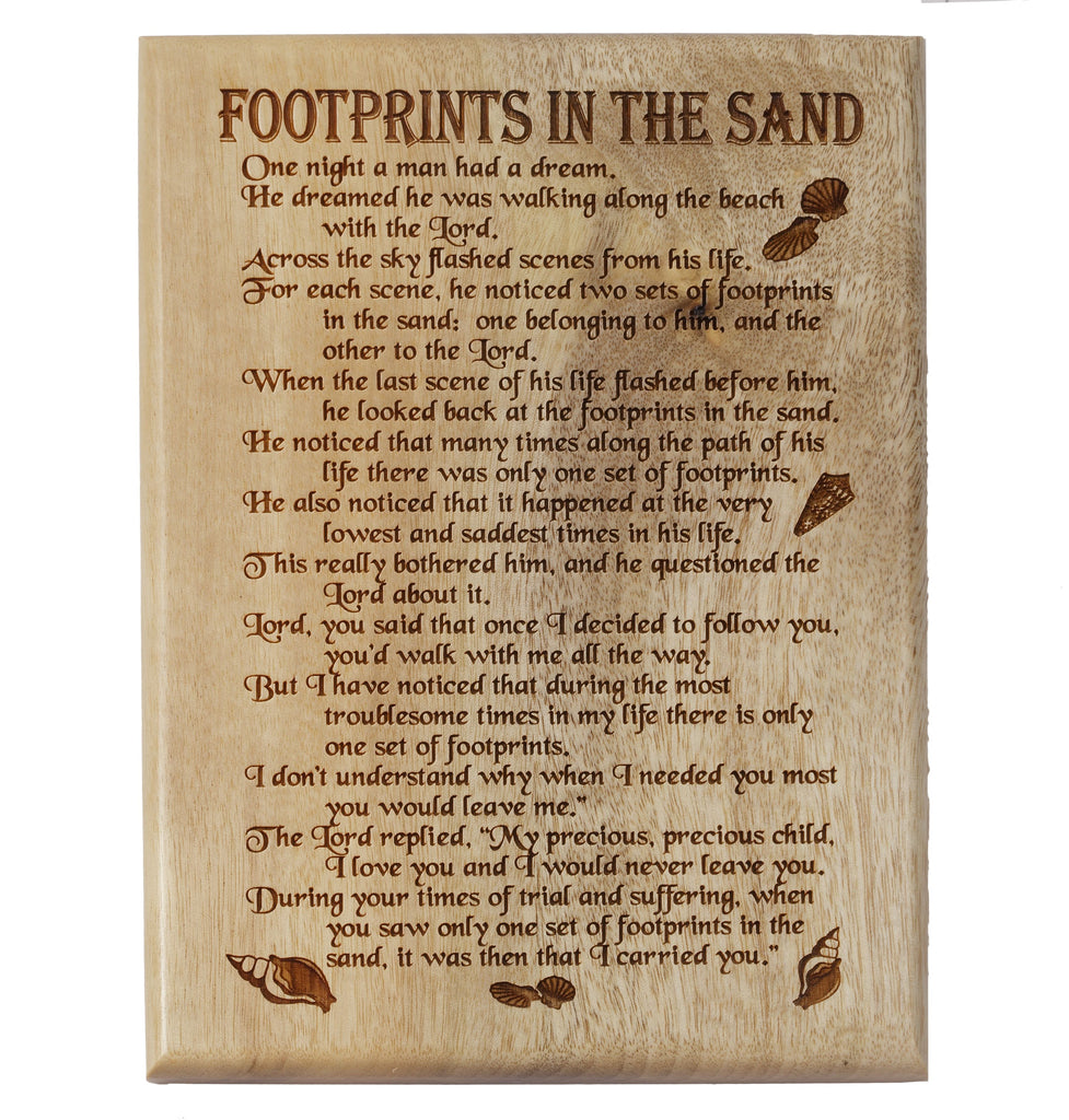 Footprints in the Sand Desk or Wall Plaque 5 x 7""
