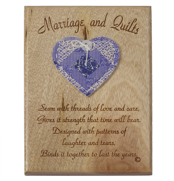 Marriage & Quilts Desk or Wall Plaque 5 x 7""